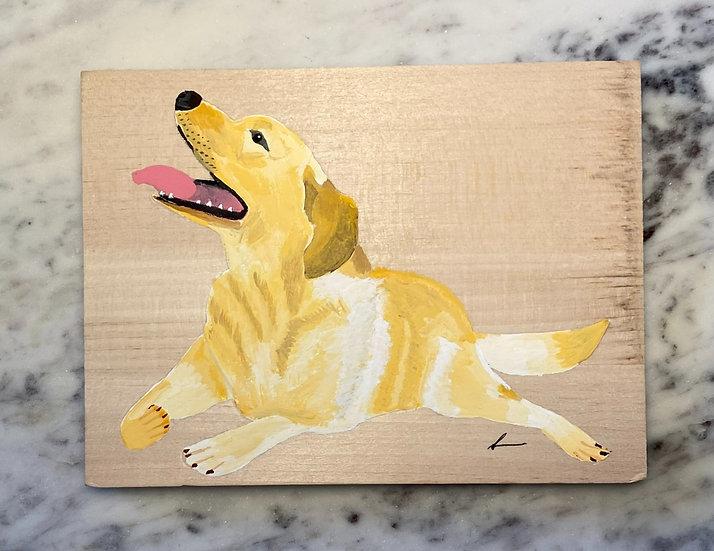 Custom pet woodblock portrait