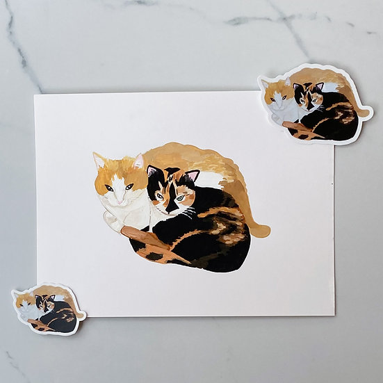 Custom  pet portrait and stickers