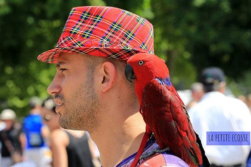 chapeau rouge, carreau écossais