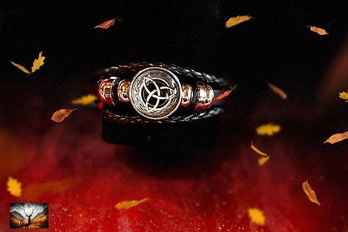 Bracelet celtique en cuir et metal