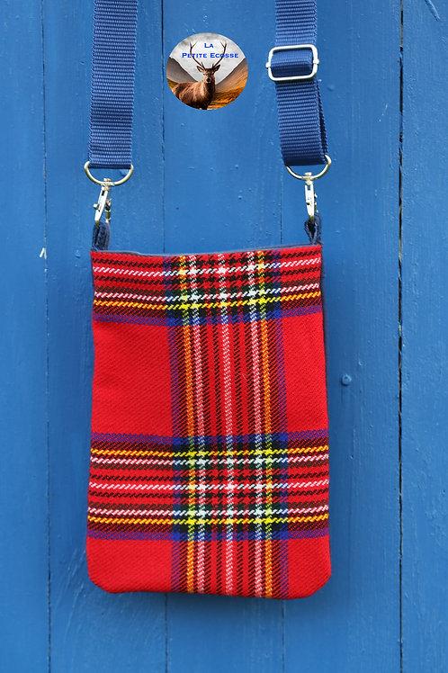 Sac Téléphone Portable rouge. Style écossais