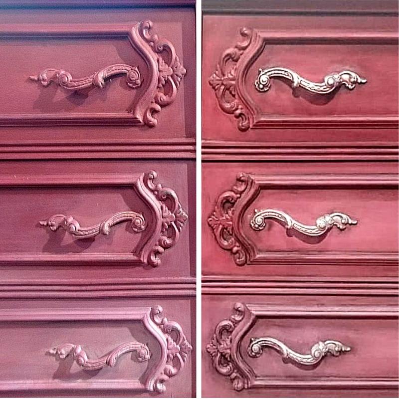 Muebles pintados con un degradado de color en Burgundy y Emile. Detalles del proceso y del acabado final - Trabajo realizado TRATE Tienda Taller, pintado con Chalk Paint Annie Sloan