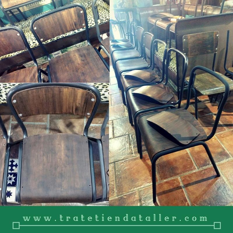 Trabajo realizado para el nuevo bar Kantine situado en la calle Principe. Estructura sillas en Graphite de Chalk Paint™ Annie Sloan, Trate tienda Taller Bilbao, Bizkaia