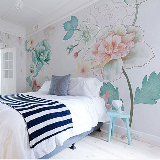 Papel pintado flores, vía Pinterest