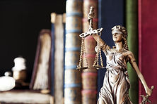The scales of justice in a library