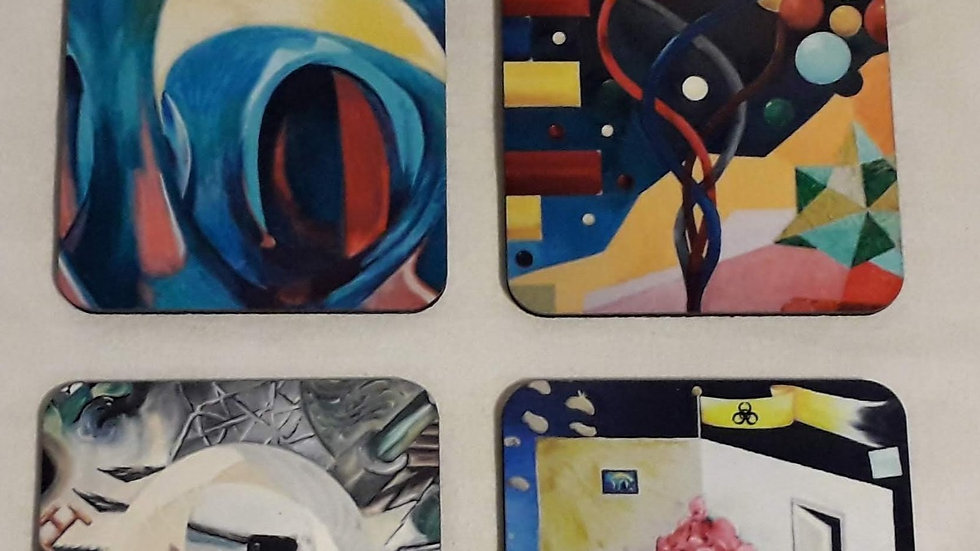 Set of four drinks coasters; The Abstract Set
