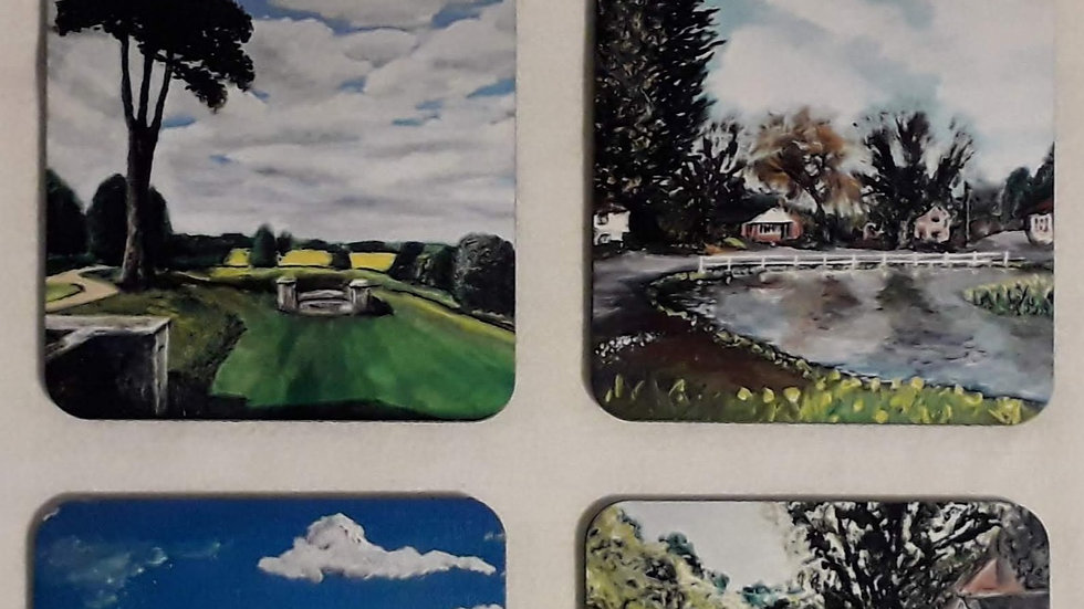 Set of four drinks coasters; The South Downs Set