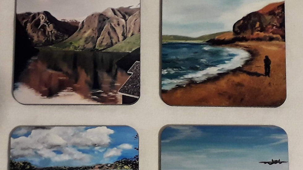 Set of four drinks coasters; The Water Set