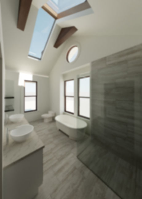 custom home interiors bathroom design skylight windows glass shower freestanding tub