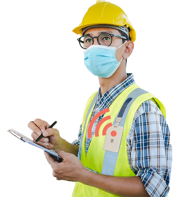Worker-with-mask-and-safe-distance-badge