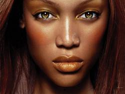 green eyes dark skin