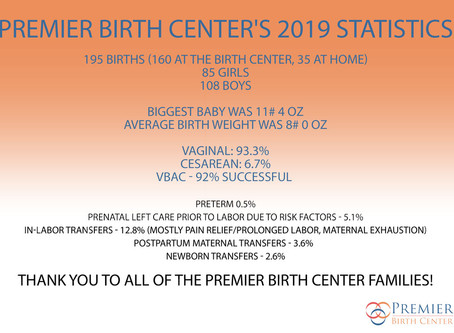 Premier Birth Center Stastics for 2019