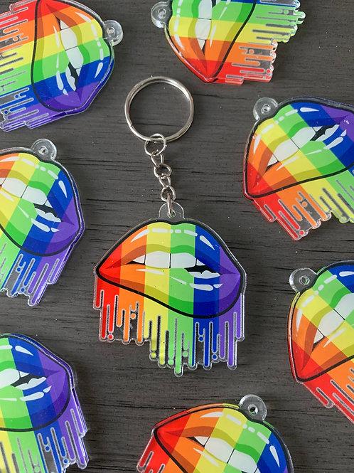 Rainbow Lip Key Charm