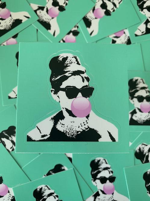 Audrey Hepburn Bubble Gum Sticker