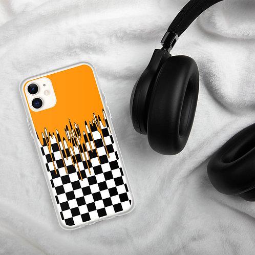 Orange Checkered iPhone Case