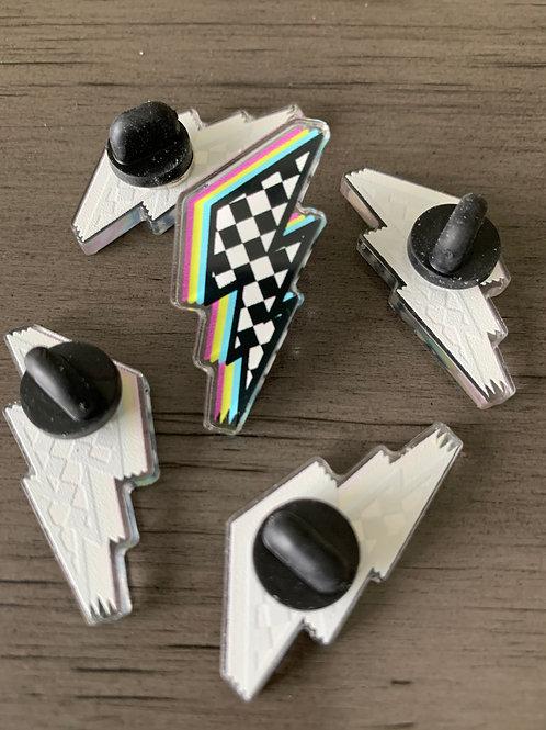 Checkered Lightning Pin