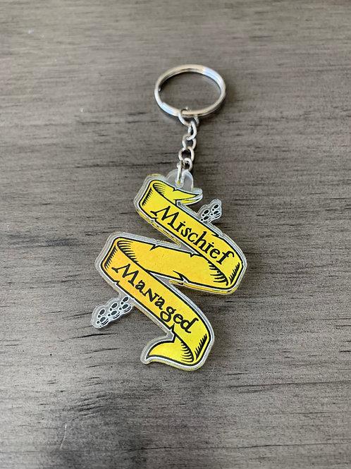 Mischief Managed Hufflepuff Keychain