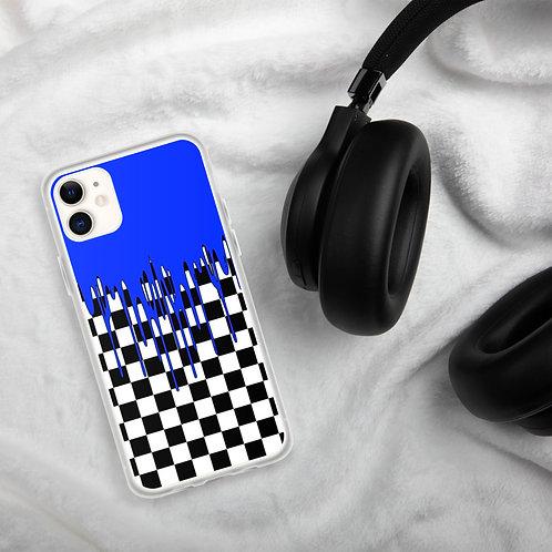 Dark Blue Checkered iPhone Case