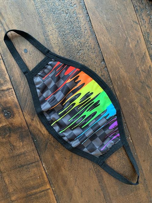 Elastic Stitch Dark Checkered Rainbow Drip Face Mask