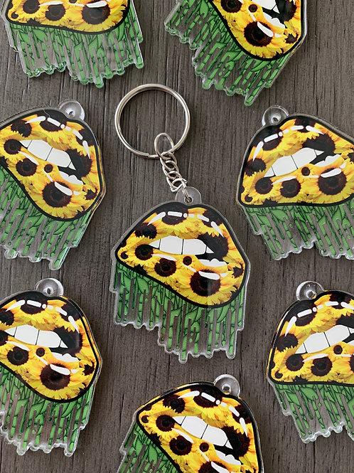 Sunflower Lip Keychain