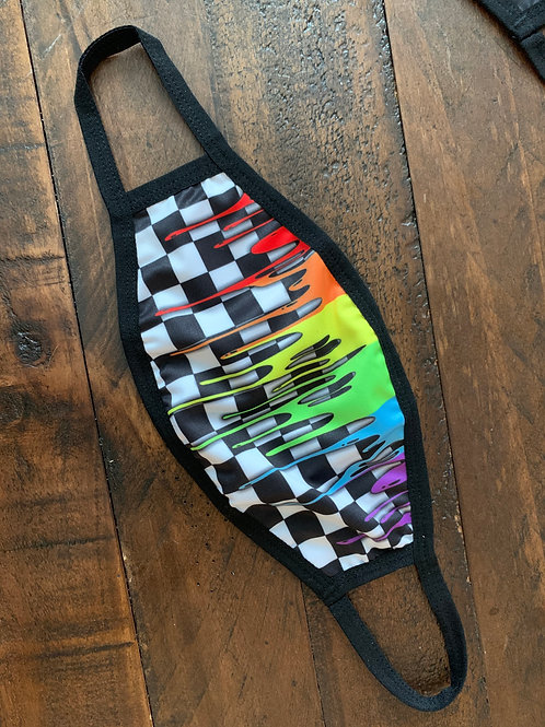 Elastic Stitch Checkered Rainbow Drip Face Mask