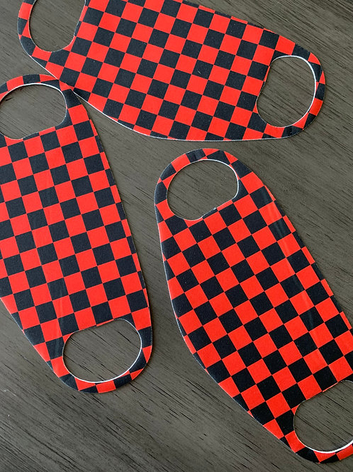 Red and Black Checkered Face Mask