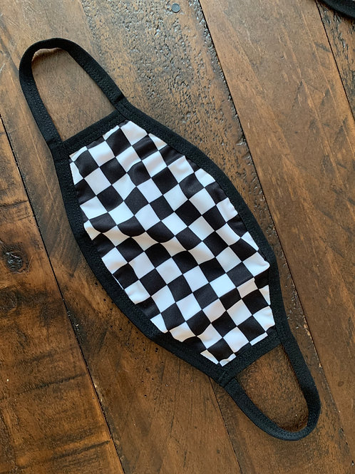 Elastic Stitch Checkered Face Mask