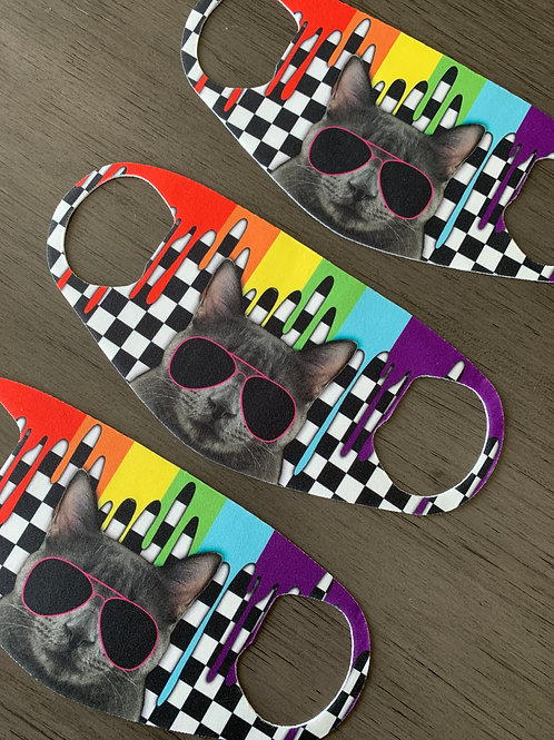 KIDS/SMALL  Rainbow Cat Checkered Face Mask
