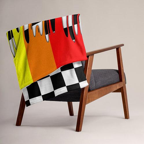 Rainbow Drip Checkered Throw Blanket
