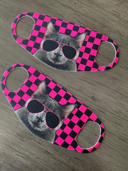 Pink Car Checkered Face Mask