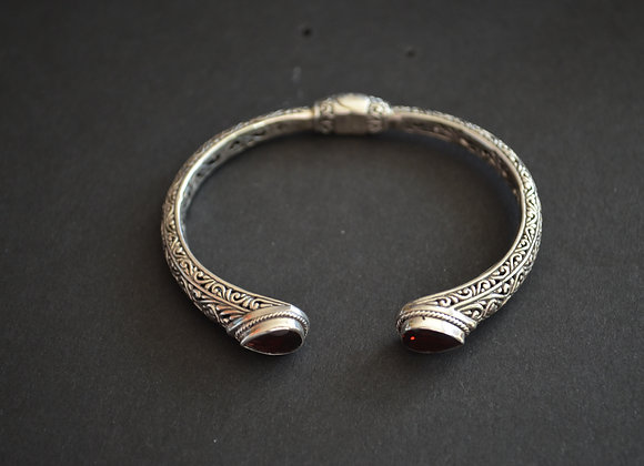 Sterling Silver cable Cuff  Bracelet With Garnet