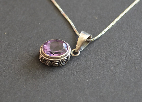 Sterling Silver Necklace With Amethyst Stone