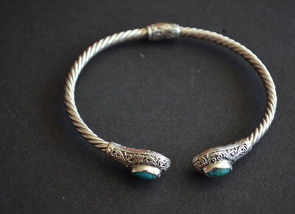 Sterling Silver Cable Cuff Bracelet With Turquoise