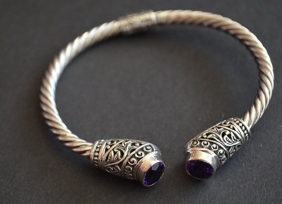 Sterling Silver Cable Cuff Bracelet With Amethyst stone