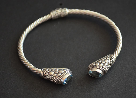 Sterling Silver Cable Cuff Bracelet With Blue Topaz