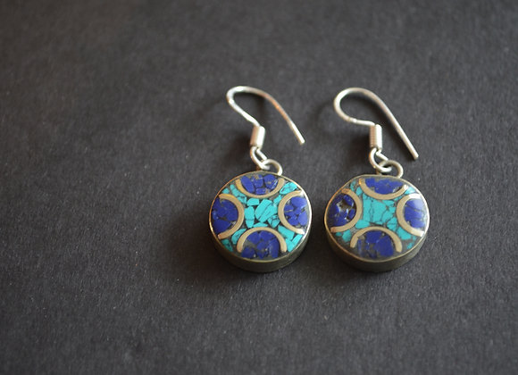 Tibetan Lapis  And Turquoise Earring