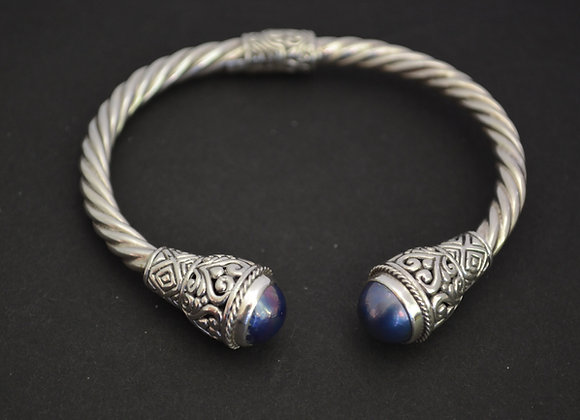 Sterling Silver Cable Cuff Bracelet With Blue Mabe Pearl