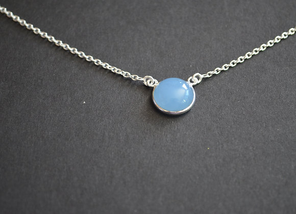 Sterling Silver With Blue Chalcedony Stone