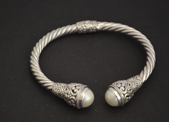 Sterling Silver Cable Cuff Bracelet With Balinese Pearl