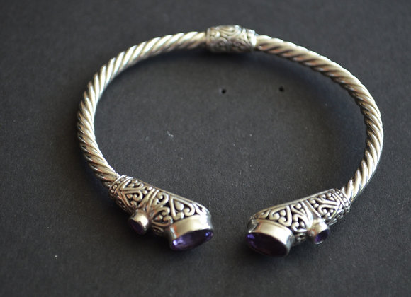 Sterling Silver Cuff Cable Bracelet- Bali