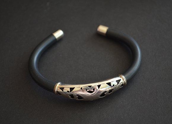 Modern  Black Rubber And Sterling Cuff Bracelet