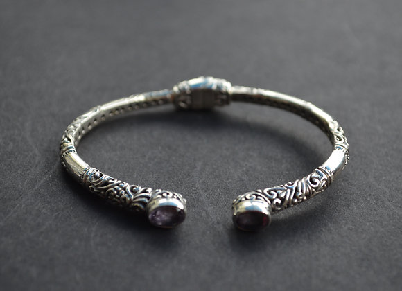 Sterling Silver Ornate Cuff With Amethyst
