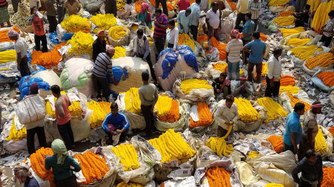Flower Market-Kolkata, India