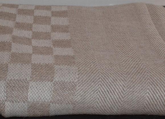 Light Tan Checkerboard Cashmere Blanket/Throw