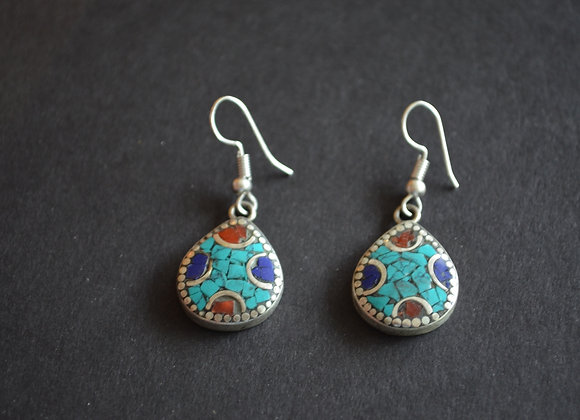 Tibetan Multi Stone Earring