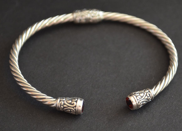 Sterling Silver Cuff Cable Bracelet With Amethyst