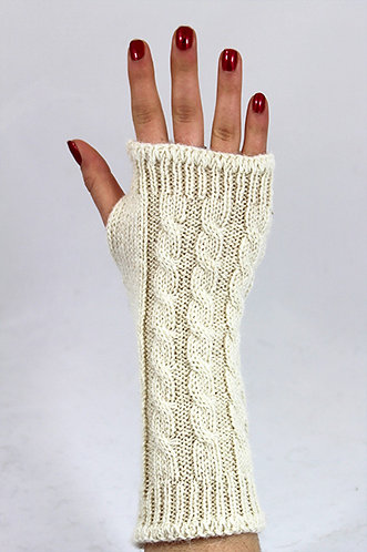 Alpaca Wrist Warmers - Cable Pattern - by New England Alpaca Fiber Pool