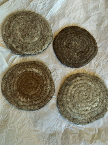 Alpaca Felted Coasters, Set of 4