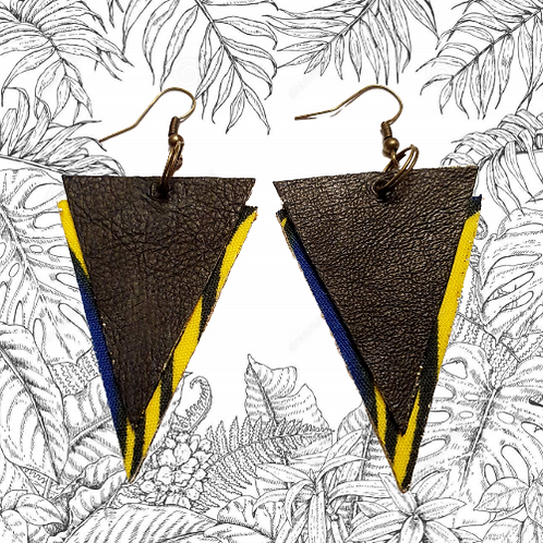 Boucles d'oreilles triangles cuir-jaune zébré / Triangle earrings