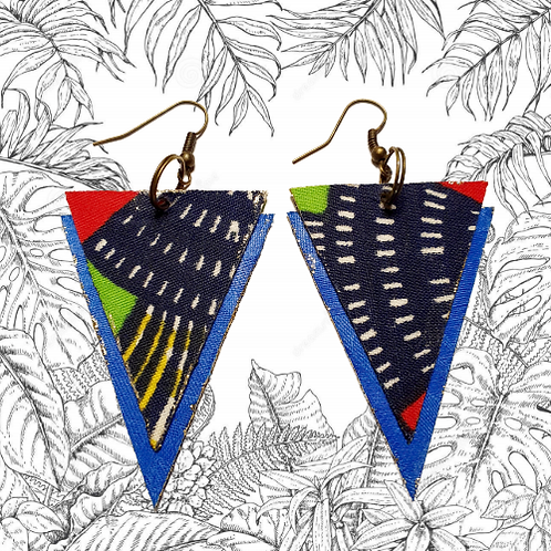 Boucles d'oreilles triangles bleu marine-basin bleu / Triangle earrings
